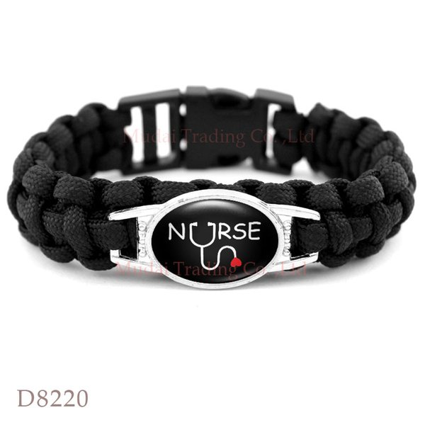 Christmas Gift Valentine's Day gift Nurse Lover Heart Paracord Survival Friendship Womens Girls Black Wax Bracelets Drop Shipping