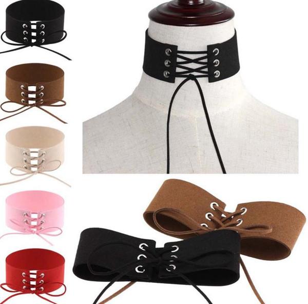 Halloween Henne Party Cos Fancy Dress Punk binden Halskette sexy Frauen breiten Samt Schnürsenkel Halsband Halsbänder Ereignis Weihnachtsgeschenk