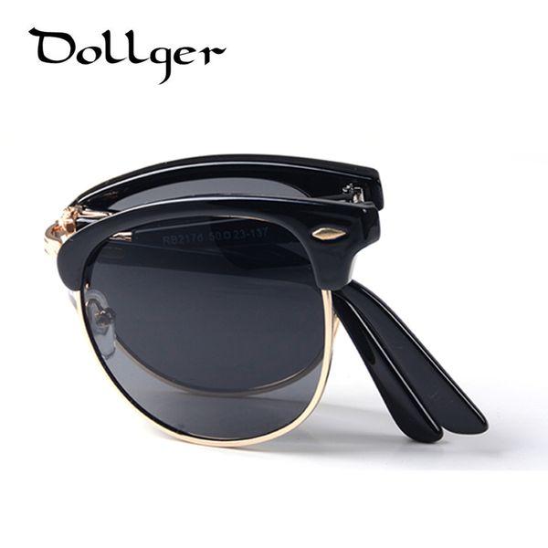 Wholesale-Dollger Vintage Folding Sunglasses Men Women Classic Fashion Brand Designer Eyewear Metal Frame Gafas Oculos De Sol Glasses D11