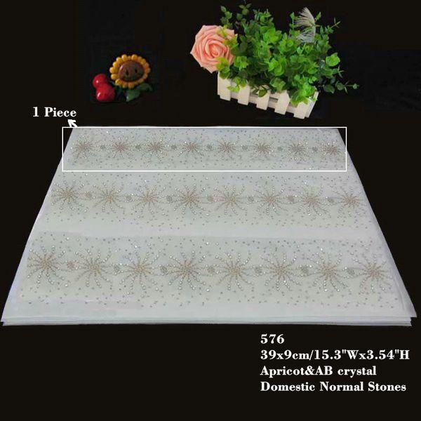 Flower Border Pattern Rhinestone Iron On Hotfix Apricot/AB Crystal Diamante T Shirt Lace Motif 30pcs/lot