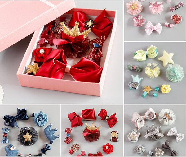 South Korean style little girls 0-7Y kids hair accessories street making photo classical girls props hair decorative gift box include 10PCS
