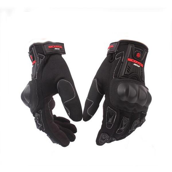 Atacado - Luvas da motocicleta de ciclismo Corrida de equitação Luvas de proteção Luvas de motocross para Scoyco MC12 Full Finger Carbono Segurança