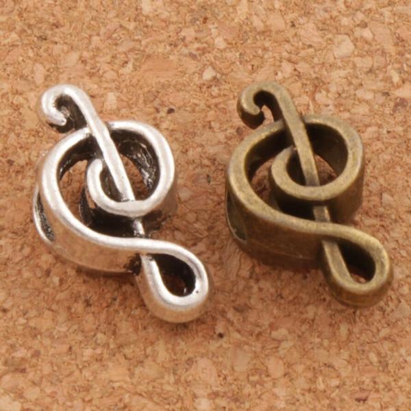Music Note Metal Big Hole Beads 100/lot 18.4x9.5x7.3mm Antique Silver/Bronze Fit European Charm Bracelets Jewelry DIY L1449
