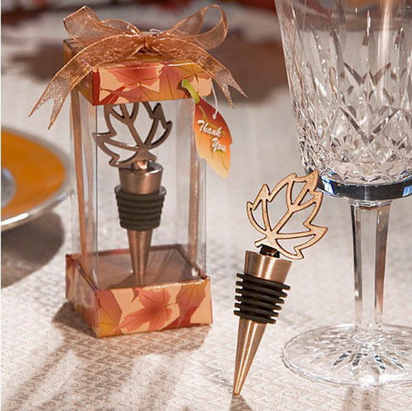 Bronze Fall in Love Maple Wine Bottle Stopper Wedding Bridal Shower Favors Gifts Leaf Bottle Stopper Party Decoration+DHL Free Shipping