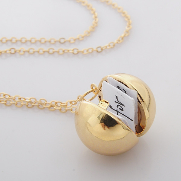Fashion a small box necklace secret information into ball locket neckla silver gold plated pendant necklace for women men XL747