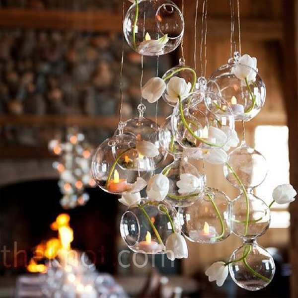 18PCS/Lot Hanging Tealight Holder Glass Globe Terrarium Candle Holders Candlestick Home Bar Wedding Decoration