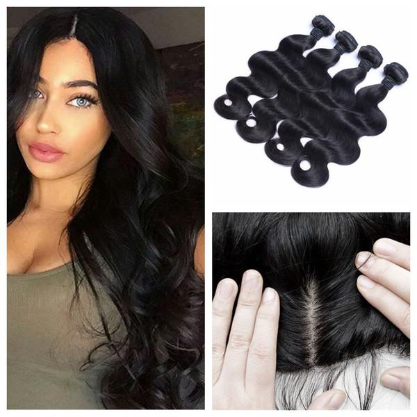Lace Frontal Bundles Peruvian Virgin Hair Body Wave Silk Base Frontal Closure With 4pcs Human Hair Wefts LaurieJ Hair