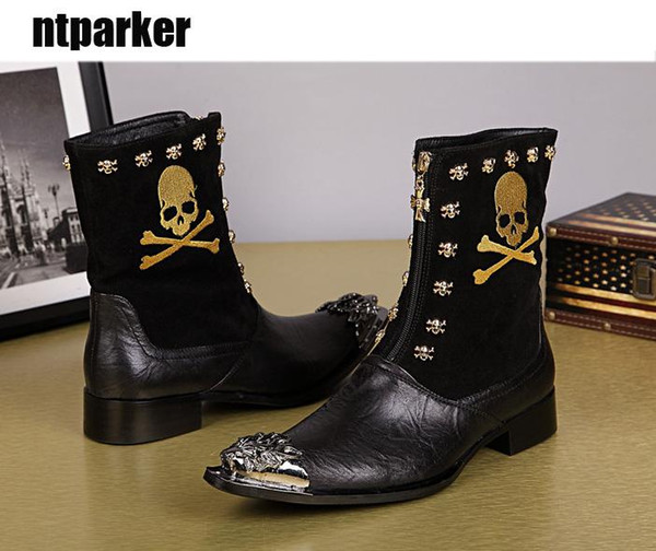 Luxury Mens Leisure Leather Boots Designer Metal Toe Charm Skull Pattern Mid-Calf Fashion Boots Motorcycle Shoes Man!