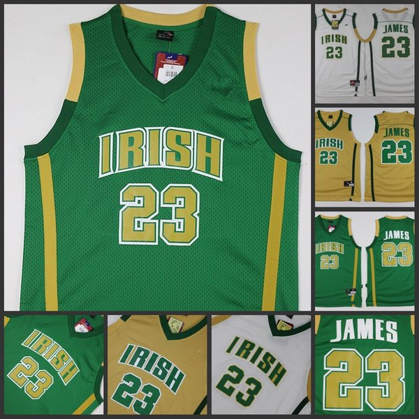 d48064a9c High school Fighting IRISH 23 Lebron James green white gold throwback jersey  great ...