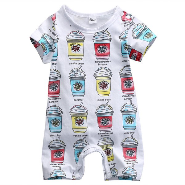 best selling Toddler infant baby rompers ice cream bottle jumpsuits newborn boys girls TOP bodysuits short sleeve style hot selling fast free shipping