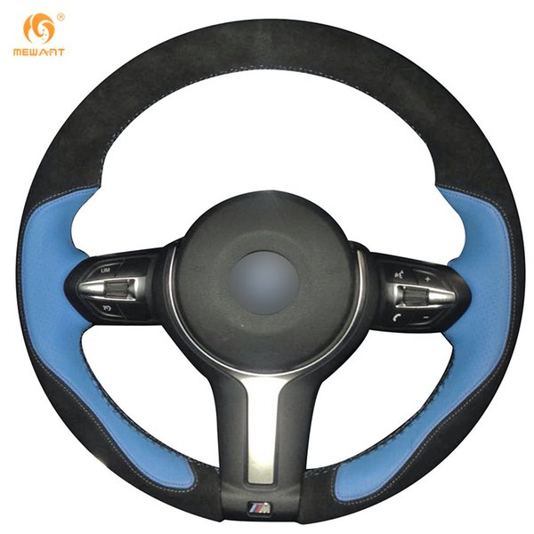 Mewant Black Suede Light Blue Leather Car Steering Wheel Cover for BMW F33 428i 2015 F30 320d 328i 330i 2016 M3 M4 2014-2016