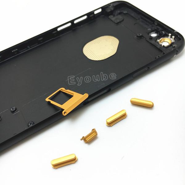 Para iPhone 6 / 6s / 6s Além de Habitação de Substituição Habitação Preto Mate com Botões de Ouro Random IMEI