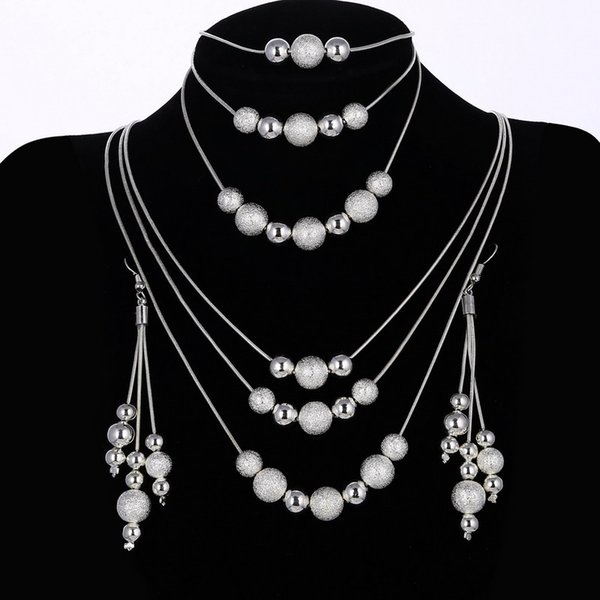 Brilliant Wedding Jewelry Set New Design Bead Double Chain Necklace Bracelet Long Tassel Earring Silver Plated Jewelry Set