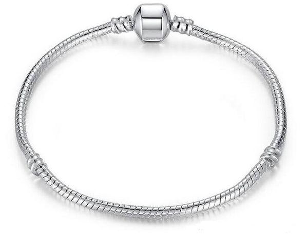 925 Silber überzogene Armband-Schlangenkette mit Fass-Haken-gepaßten europäischen Kornen für Pandora-Armbänder mit ohne Firmenzeichen DIY 20 PC geben Verschiffen frei