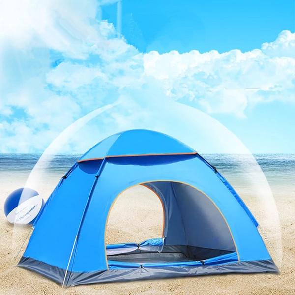 Atacado- Wnnideo 3-4 Pessoa Atacado tendas ao ar livre totalmente automático Up Beach Camping Tent Simples Breve Abrir Rainproof Camping Tent