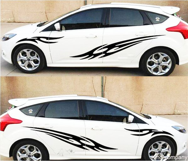 1 set black sport vehical truck car sport flame auto waist line car sticker car body emblem auto decal for FOCUS
