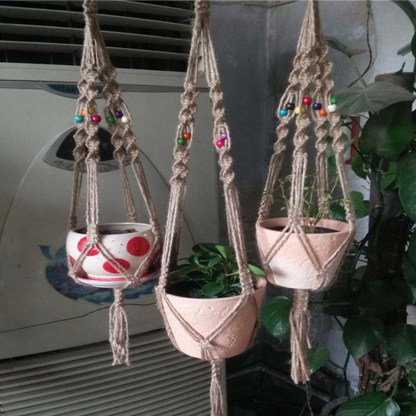 best selling Fashion Handmade Macrame Plant Hanger Flowerpot Holder Mix Material Garden Home Decoration Flower Plant Pot Display Lifting Rope