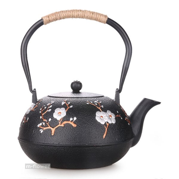 Blessed Plum Flower Japan Cast Iron Teapot Double Side Handwork Kung Fu Tea Pot Kettle Drinkware 1.2L With Filter Crafts Gifts