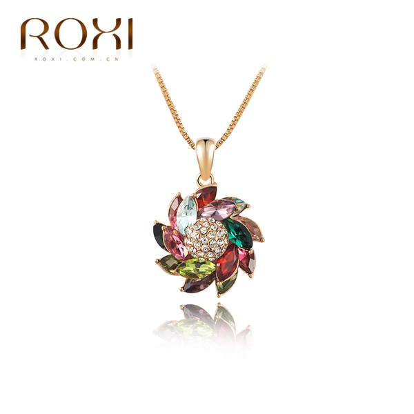 ROXI Necklace Pendant For Women Rose Gold Plated Charm Chain Long Necklace Choker Colorful Crystal Pendant For New Year Gift