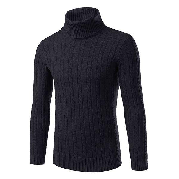 top popular Wholesale- 2016 Winter Thick Warm 100% Cashmere Sweater Men Turtleneck Men Brand Mens Sweaters Slim Fit Pullover Men Knitwear Double collar 2020