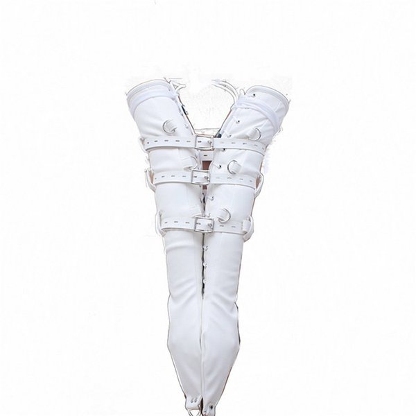 Soft White PU Leather Arm Binder Restraint Chastity Belt Arm Harness Armbinder Gloves Sex Toys For Female Adult Games