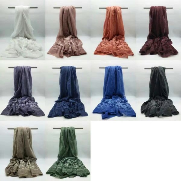 Wholesale- 2016 New Luxury Embroidery Scarf Plain Embroider Flower Shawl Floral Vintage Scarves Cotton Linen Scarf Muslim Hijabs Hot Sale