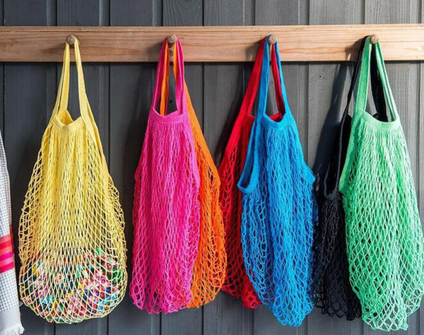 best selling 100pcs 2017 New Arrival Mesh Net Turtle Bag String Shopping Bag Reusable Fruit Storage Handbag Totes Short handle mesh bag