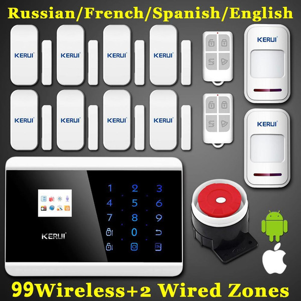 LS111- GSM Android IOS APP 99 Wireless Zone LCD Smart Dislay Touch Keypad PSTN Quad Band SMS Home Security Voice Burglar Alarm System