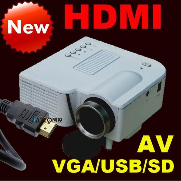 Wholesale-Latest HDMI VGA AV HD projector LED mini projector mobile home computer's USB flash drive Free shipping