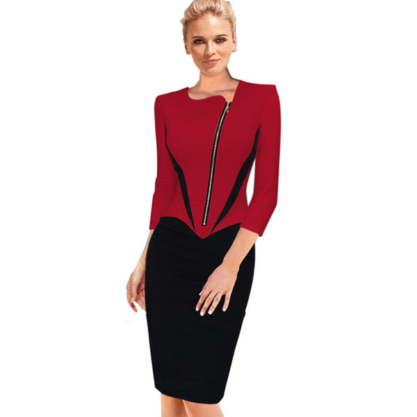 New Fashion Womens Elegant Front Zipper 3/4 Sleeve Colorblock Tunic Business Casual Wear To Work Party Pencil Sheath Dress