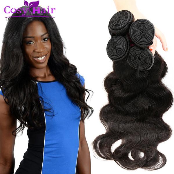 Extensiones brasileñas del pelo humano de la Virgen de la onda del cuerpo malasio brasileño Pelo humano barato brasileño de Remy de la flor teje Natural negro Buena calidad DHL