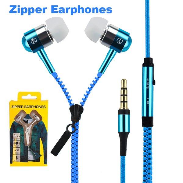 Auricular con cremallera en la oreja de 3,5 mm con micrófono brújula con micrófono, auriculares con cremallera para MP3 iphone 6 plus Ipod Samsung htc con caja al por menor