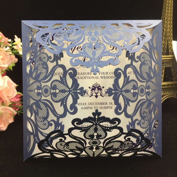 2018 Navy Blue Free Printed Wedding Invitations Cards With Hollow Out Rustic Laser Cut Invatation Card Flowers Elegant Party Invites