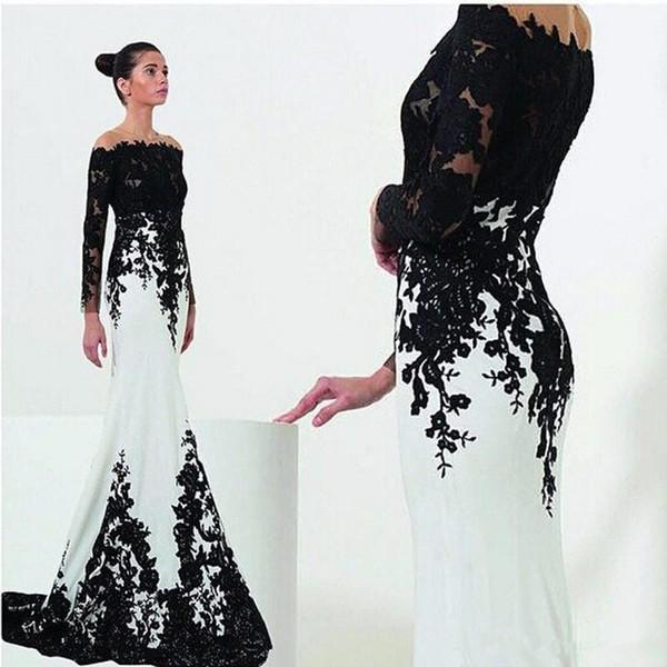 Nuevo Blanco y negro Vestidos de noche Mangas Estilo sirena Barrido Tren Encaje Vestidos formales fuera del hombro Por encargo Hot Sales E101