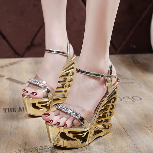 Moda Cristal Gladiador Sandálias New Bling Sexy Plataforma De Salto Alto Cunhas Sandálias Transparentes Sapatos Sliver Ouro Casuais Mulher Tamanho Grande