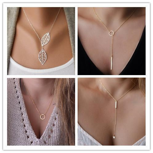 Women Trendy Necklaces Fashion Simple Gold Plated Circle Pendant Choker Necklace Ladies Short Clavicle Chain Wholesale Y#175