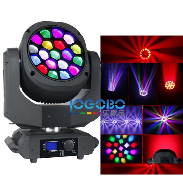 Schermo a colori Zoom B-EYE Lighting 15Wx19 Osram Led RGBW 4 in 1 Vortex Art Net System Moving Head Beam Colore Wash Spot Spot Stage Luci DJ