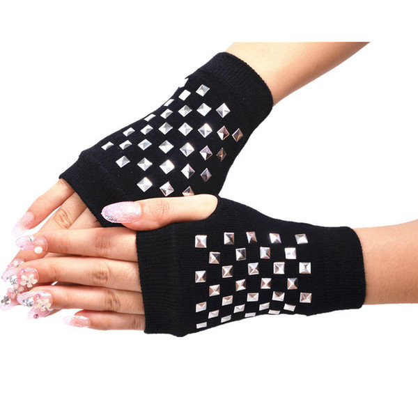 Wholesale- Winter Half Finger Gloves for Women Men Fashion Knitting Warm Glove Students Drill Rivet Punk Hip Hop Cool Sailor Dance Mittens