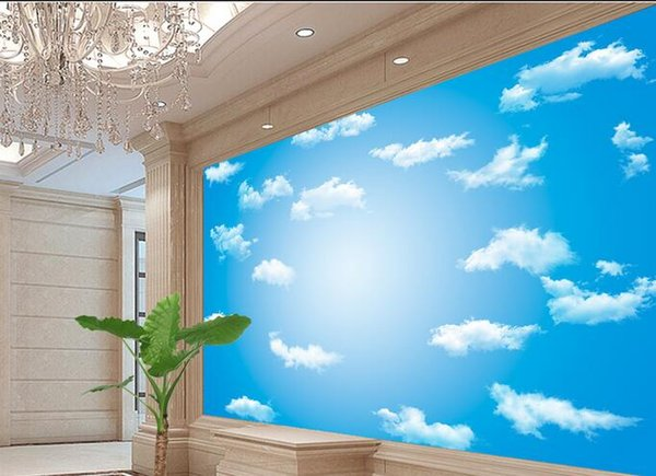 Original HD blue sky and white clouds background wall ceiling ...