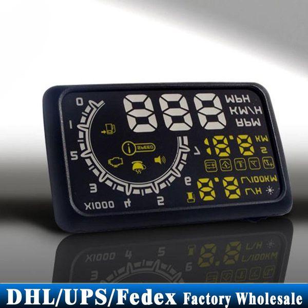Free DHL 10pcs/lot Universal Car HUD ASH 4C, Head Up Display, Support Both MPH and KPH, OBD2, 3 Colors