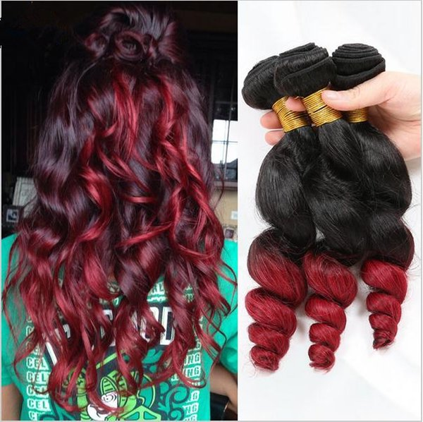 Virgin Malaysian #1B/Red Ombre Hair 3Pcs Lot Dark Roots Two Tone Human Hair Weaves 9A Malaysian Loose Wave 3Bundles Ombre Hair Wefts