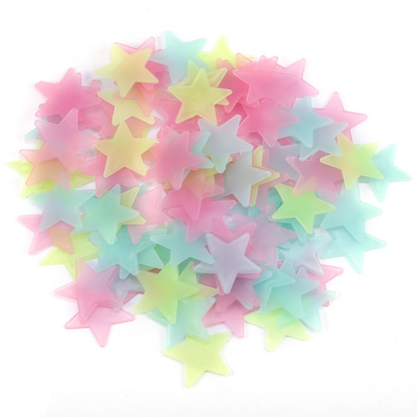 Wholesale- 100Pcs DIY Colorful Wall Stickers Luminous Star Sticker Fluorescent Glow In The Dark Baby Kids Bedroom Decal Stars Home Decor