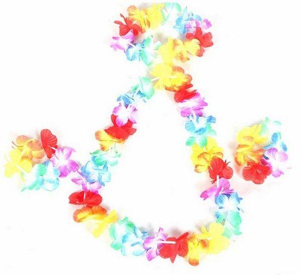 Wholesale 60 Sets of Hawaiian Flower Lei+ Flower Bracelet + Flower Headband, Luau Dress Party Dancing Costume Hula Set Free Ship