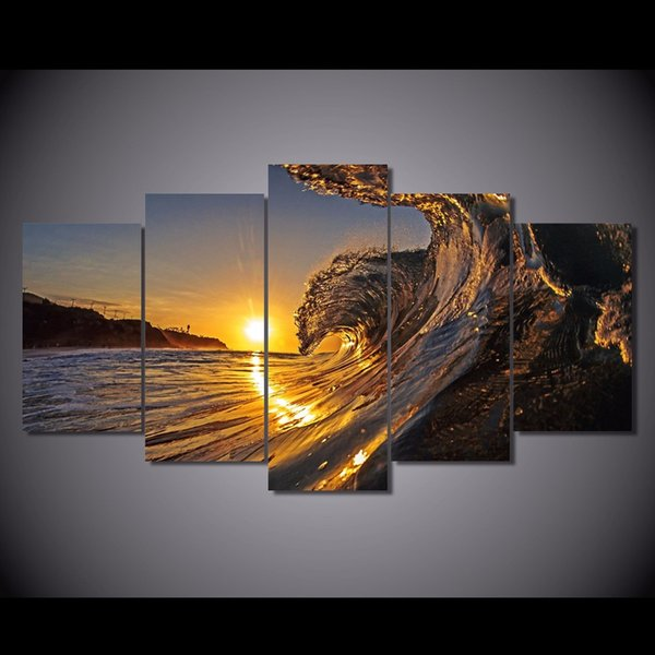 5 Pcs/Set Framed HD Printed wave in the sunset beach Painting Canvas Print room decor print poster picture canvas Free shipping/ny-2964