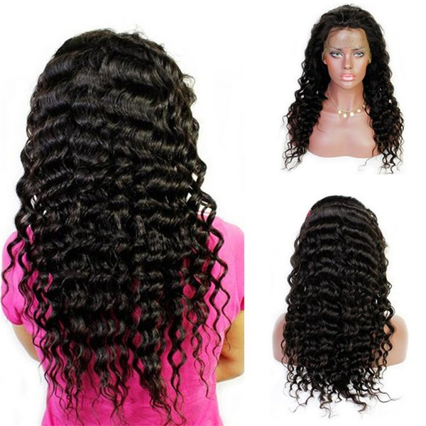 Super Quality 1B Virgin Human Hair Brazilian Deep Curly Lace Front Wig for Black Women Free Shipping