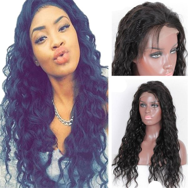 Virgin Human Hair Wig 1B Wet and Wavy Brazilian Lace Front Wig for Black Women Free Shipping
