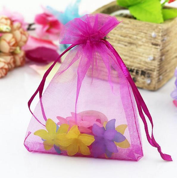 12size Wholesale 26 colori Christmas Wedding Voile Gift Bag Farfalla Organza Bag Jewelry Packing Coulisse Pouch JJAL