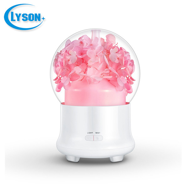 Preserved Fresh Flower LED Ultrasonic Aroma Air Humidifier Mini Essential Oil Diffuser 100ml Big Leaf Hydrangea Pink