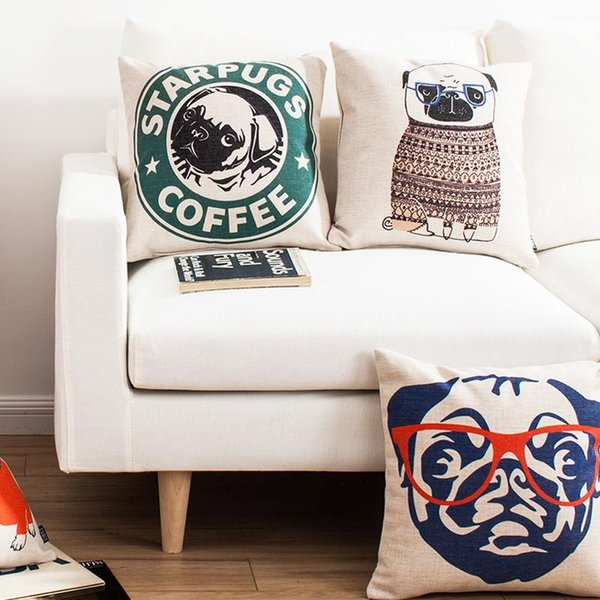 Cute Stupid Dog Wearing Glasses Decorative Throw Pillows For Sofa