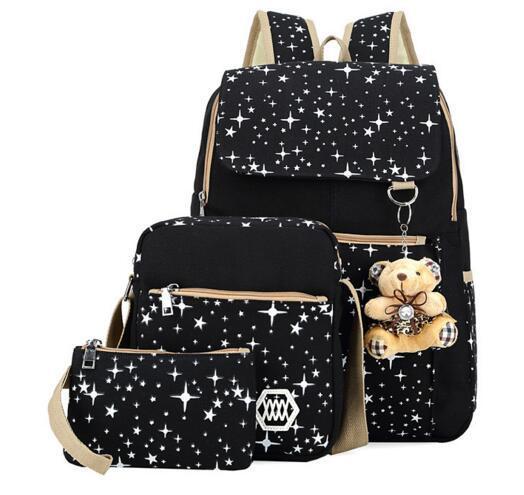 School Backpacks for Girls Canvas Backpack Set 3 Pieces Patterned Bookbag Laptop Kids Bag School Backpack Trip Bag Students
